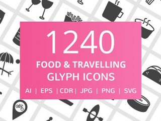 1240 Food & Travelling Glyph Icons
