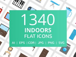 1340 Indoors Flat Icons